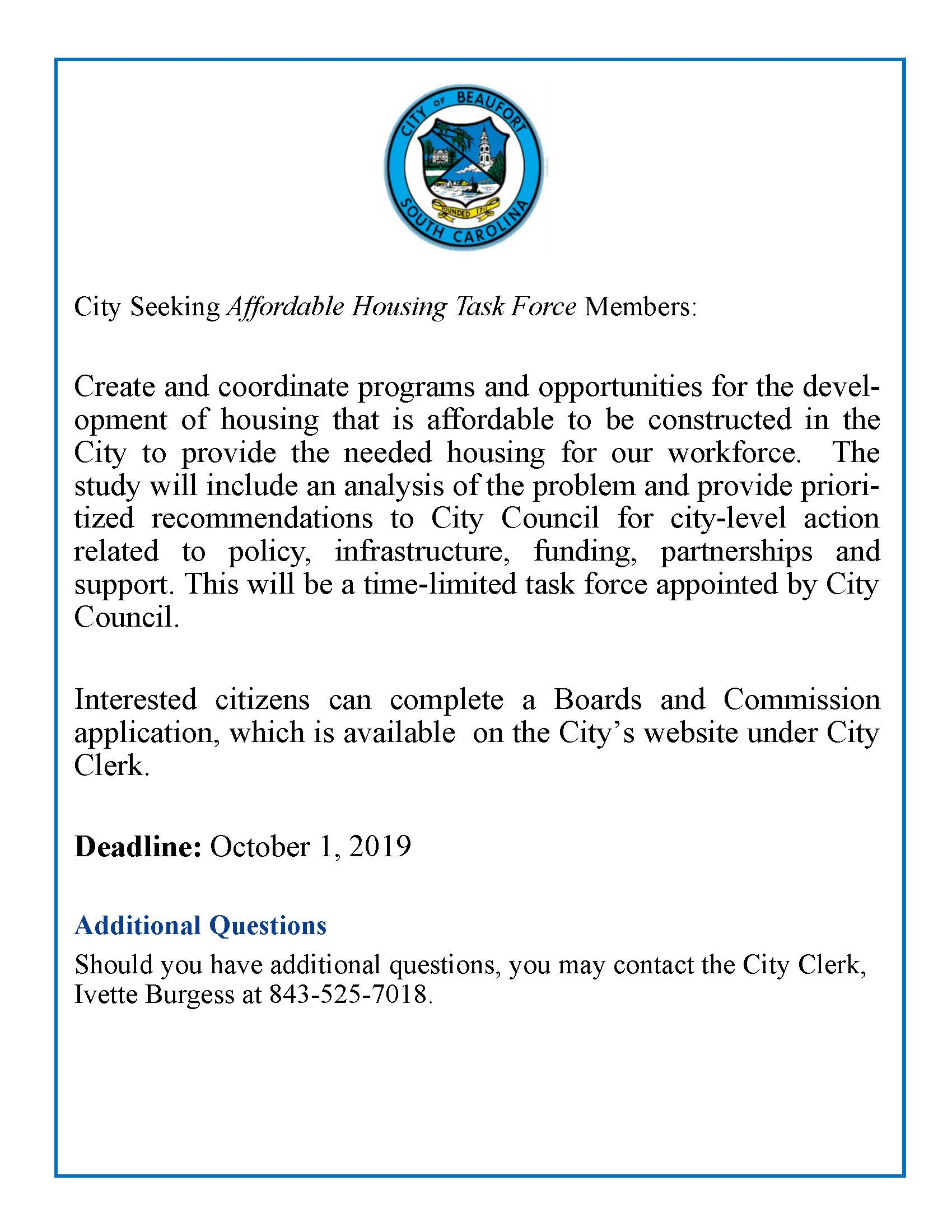 affordable housing task force notice