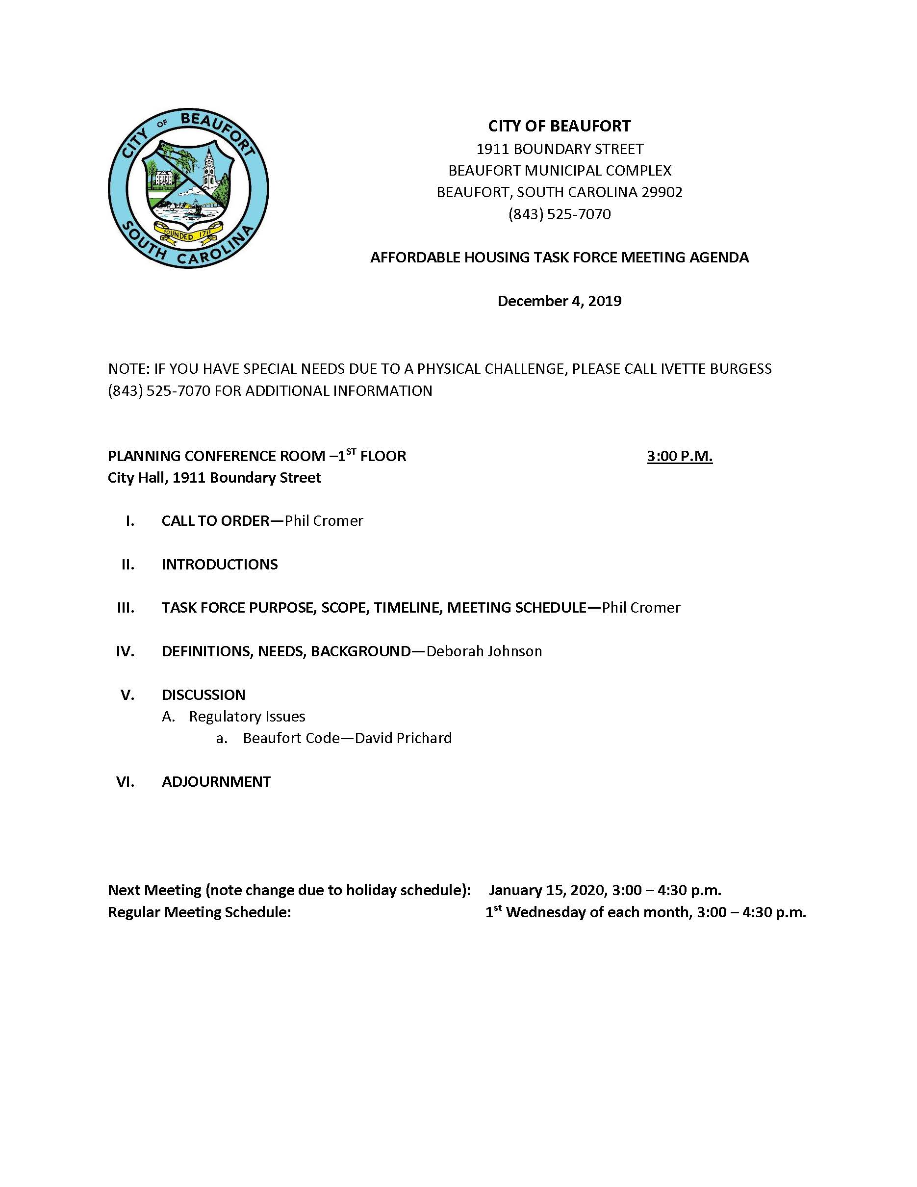 Affordable Housing Task Force Agenda 12.4.19