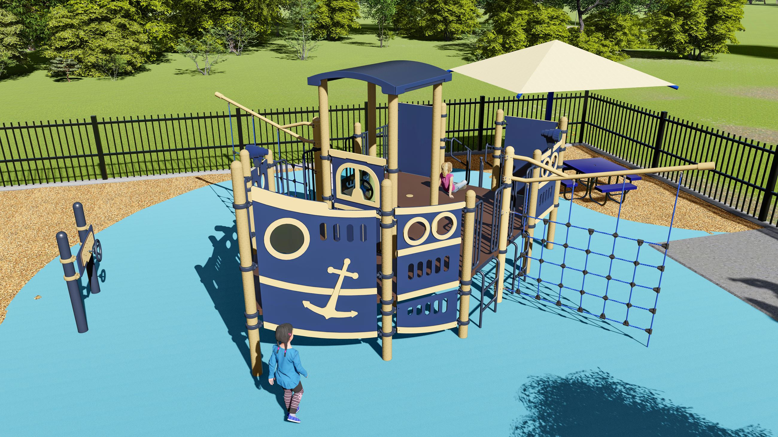 New playground equipment at Waterfront Park