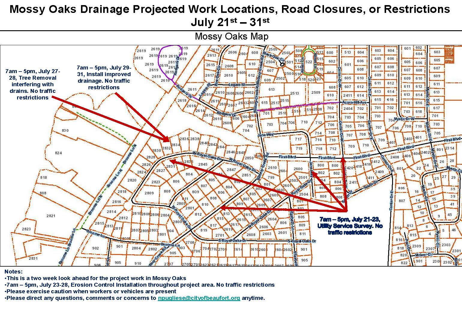 Mossy Oaks Drainage Update 22 July 2020